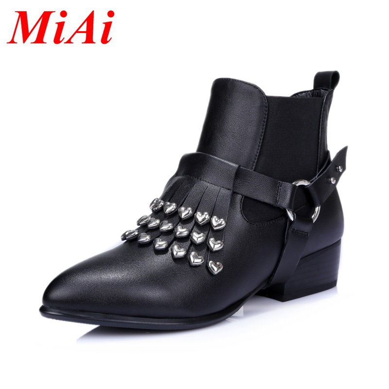2015 new winter round toe real leather fashion casual shoes winter boots simple black ankle boots women size 34-40 Ma Dingxue<br><br>Aliexpress