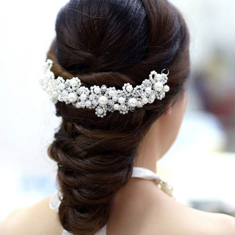 New best deal Han edition hair White pearl crystal bride headdress by hand Wedding dress accessories bridal hair jewelry 1pcs(China (Mainland))