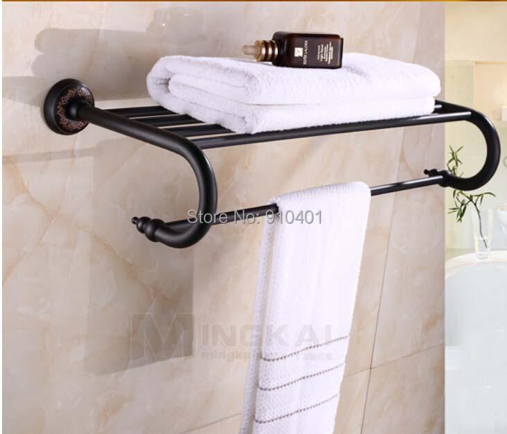 Hot Sale Wholesale And Retail Promotion Modern Oil Rubbed Bronze Bathroom Hotel Towel Rack Holder Bath Shelf Towel Bar(China (Mainland))