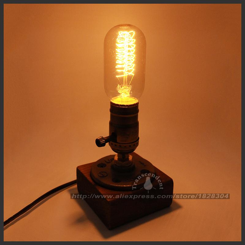 Retro Coffee Shop Table Lamp Wood Vintage Desk Lamp Dimmable 40W Edison Bulb 220V Bedroom Bar Table Light Desk Light wooden(China (Mainland))