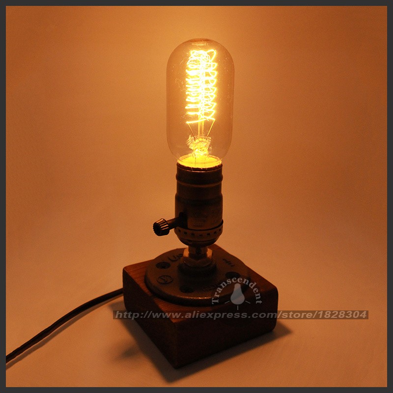Retro Coffee Shop Table Lamp Wood Vintage Desk Lamp Dimmable 40W Edison Bulb 220V ...