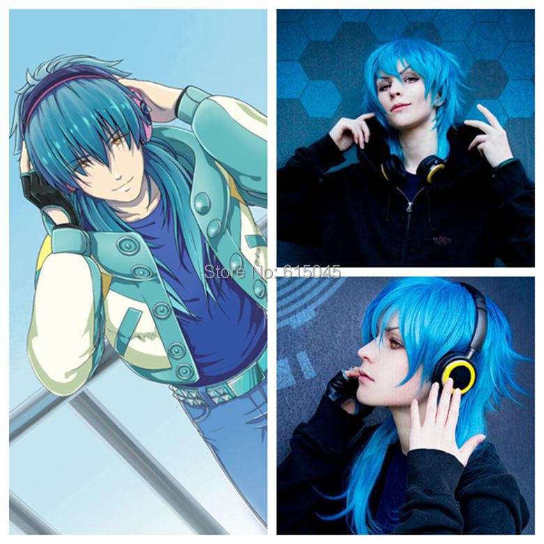 Japan Anime Dramatical Murder DMMD AOBA Long Blue mix cosplay Party wig+cap(China (Mainland))