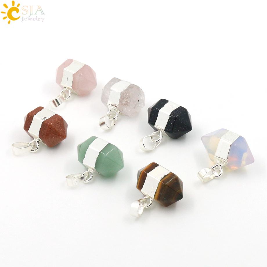 CSJA Created New Fashion Natural Gemstone Pendant Rose Quartz Green Aventurine Blue Sand Stone Quartz Crystal Opal Pendants E008(China (Mainland))