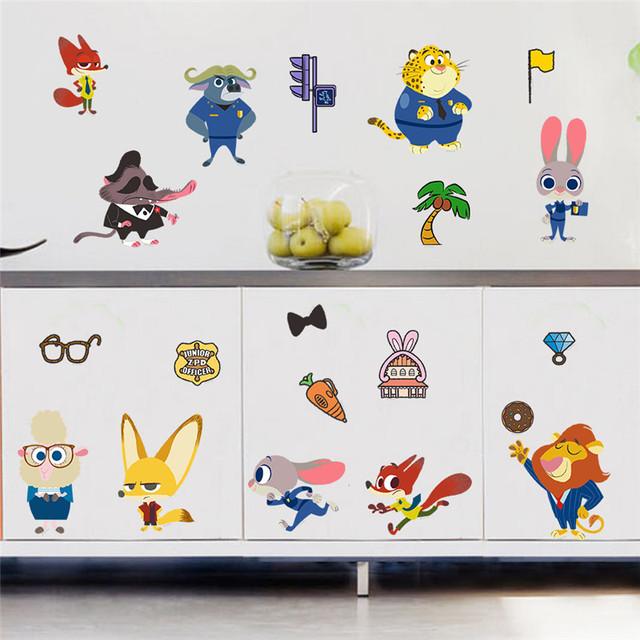Фильм Zootopia животных мультфильм стены стикеры для детей номеров ник фокс джуди кролик фигура росписи декора дома дети дети подарков