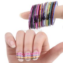 30 Pcs/Lot 30 Mixed Colors Metallic Yarn Line Rolls Striping Tape Line Nail Art Tips Decoration Sticker