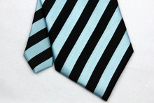 NT0050 Blue Black Stripe Smooth Multicolor Jacquard Woven Classic Type Silk Polyester Man s Business Wedding