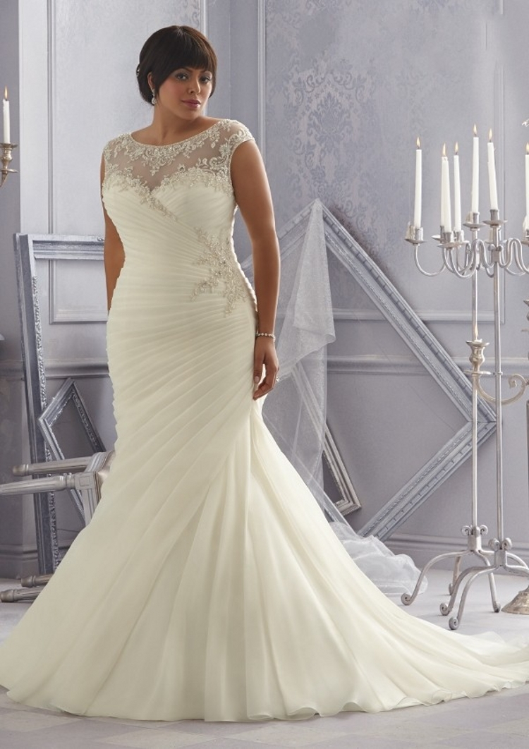 Distinctive design plus size wedding dresses mermaid for Plus size beaded wedding dresses
