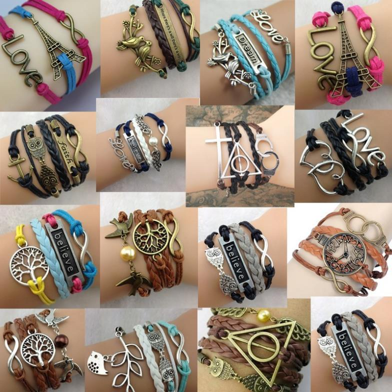 1 Piece Vintage Multilayer Braided Bracelet Charm Hollow Chain Cuff Bangle 15 Patterns(China (Mainland))