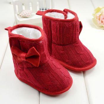 3-18 Months Baby Girl Boy Snow Boots Knit Bowknot Faux Fleece Soft Sole Kids Woolen Yam Knit Fur