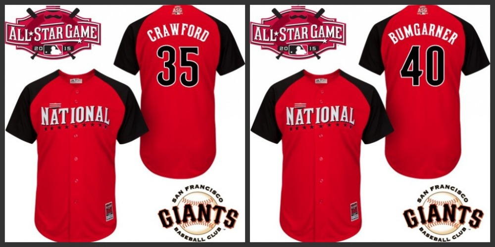 Cheap Wholesale 2015 All Star National Jersey #35 Brandon CRAWFORD #40 Madison BUMGARNER San Francisco Giants Red,Stitched,S~3XL(China (Mainland))