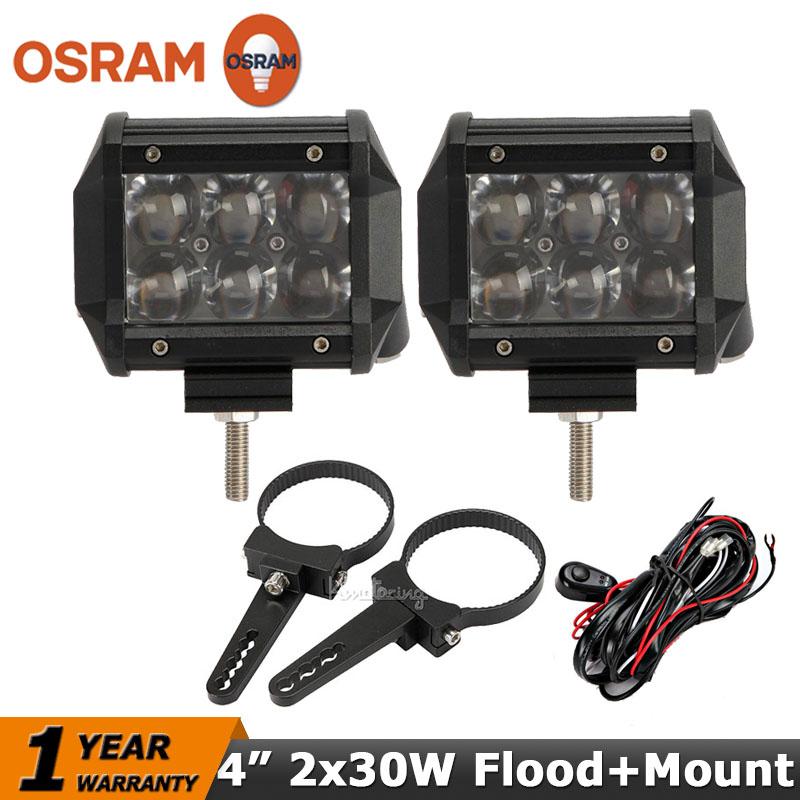 Фотография OSRAM 2x30W Flood Beam Offroad LED Work Light Bar+Mount Brackets ATV Wagon Motorcycle SUV 4WD 4X4 LED Driving Headight 12V/24V