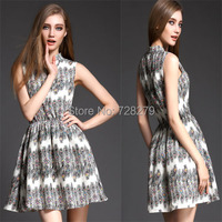 Fashion Women Dress 2015 Spring Summer Dress  Peacock feather Print slim V-neck Elastic Waist one-piece dress Summer Style XL