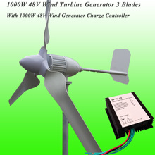 2016 Hot Selling 3 Blades Rated 48V 1000W Wind Generator & 1KW 48V Wind Charge Controller 1KW Wind Turbine Generator Kit(China (Mainland))