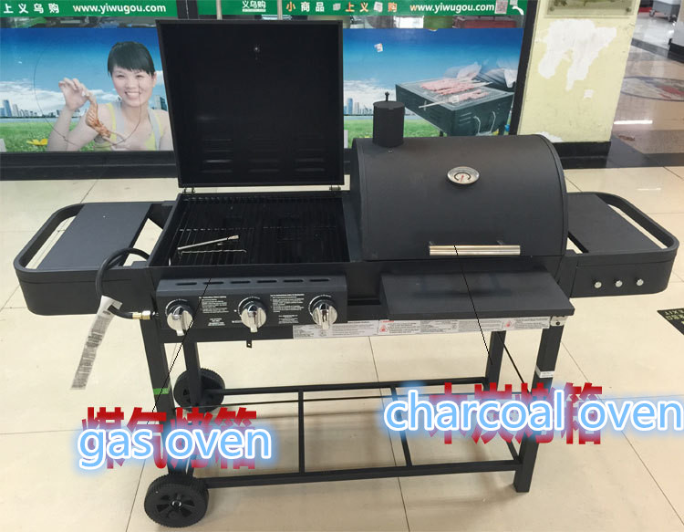 New design BBQ grill, double gas&charcoal BBQ grill,gas oven,charcoal oven(China (Mainland))