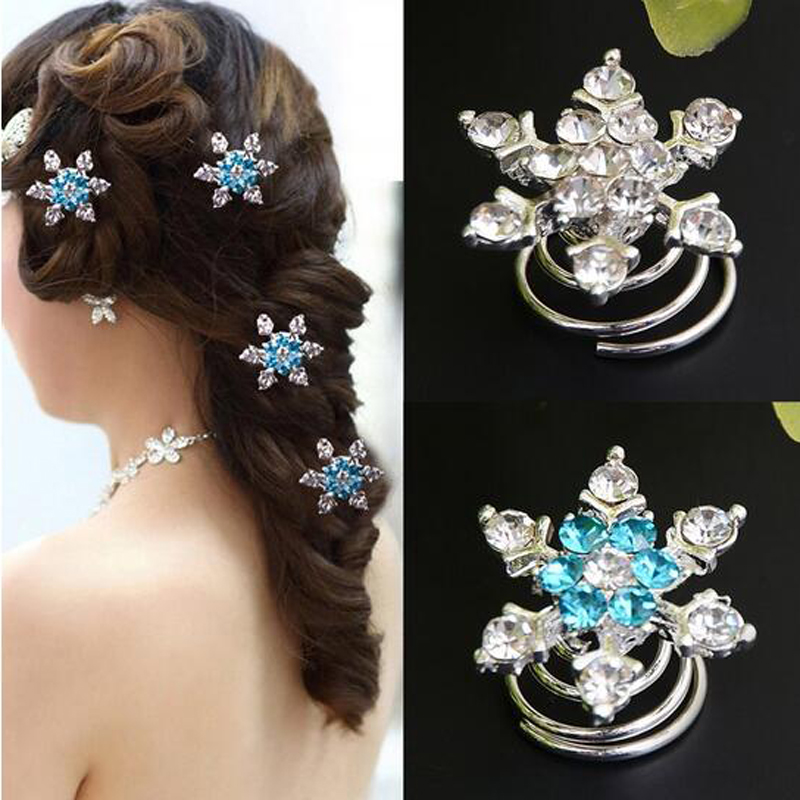 1Crystal Wedding Bridal Hairpins Twists Coils Snowflake Flower Swirl Spiral Hair Jewelry Accessories - Yiwu Ino E-Commerce Co., Ltd. store