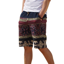 Men's linen shorts personality ethnic style color stitching 2016 summer new leisure wild men loose floral beach shorts M-5XL(China (Mainland))