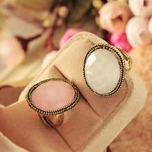 Hot Sale New Arrival Retro Pink Color Ellipse Big Vintage Rings for Women