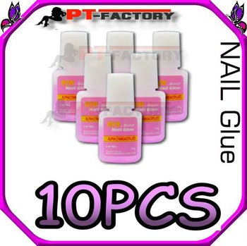 10 bottle 10g NAIL GLUE w/ BRUSH NAIL ART TOOLS TIPS DECALS 10 PCS