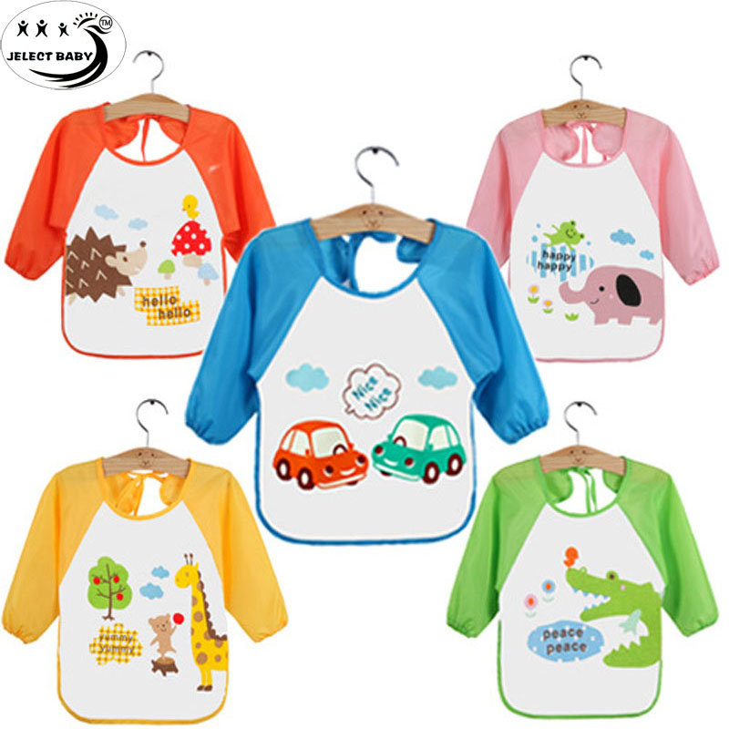 Baby Bibs Long Sleeve Waterproof Bib Burp Cloths Cute Cartoon Animal Bebe Bibs Babador For Baby Self Feeding