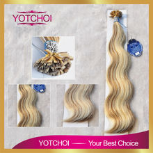 Yotchoi flat tip hair extension 1g/pcs 100pcs/set 4/613# highlight colour body wave karetin pre bonded hair for hair extensions(China (Mainland))