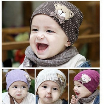 Free shipping Wholesale 4 Pieces/lot  New Style Fashion Baby Hat  Lovely Baby Bear Hat Cotton Baby Cap Infant Hat Infant Cap
