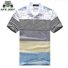 Free Shipping 2016 Summer Men's Lapel short-sleeved T-shirt AFS JEEP men stripe t-shirts male striped t shirts 24cy(China (Mainland))