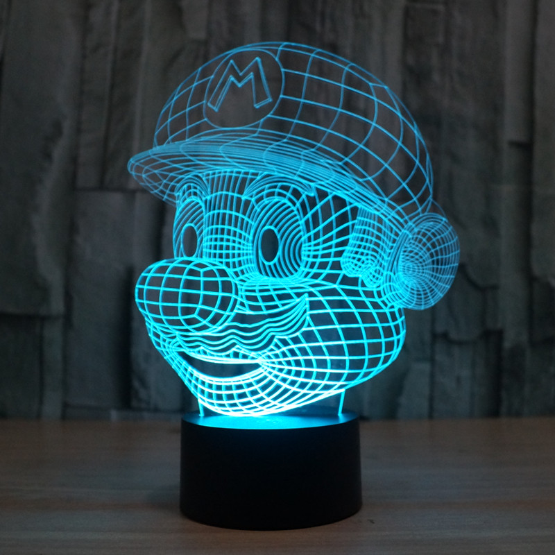 Hot ! NEW 7 color changing 3D Bulbing Light Mario Super Mary visual illusion LED lamp action figure toy Christmas gift(China (Mainland))