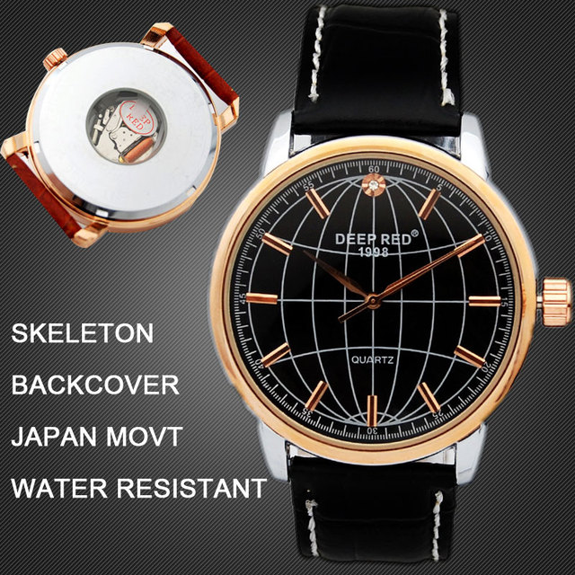 Gift lovers watch men women classic With Leather Strap skeleton Janpan MOVT water resistant World Map Women's Wrist Watches