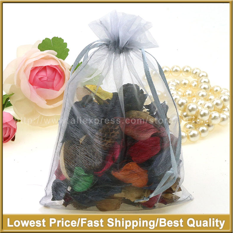 13x18cm Grey Organza Jewelry Gift Bags Small Drawstring Pouches Candy Bags Party Customed Logo Printed 100pcs/lot Wholesale(China (Mainland))