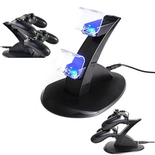 LED Dual Charger Dock Mount USB Charging Stand For PS4 PlayStation Controller (China (Mainland))
