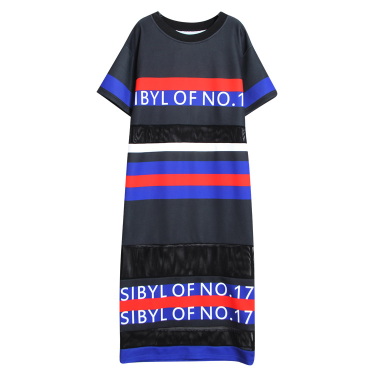 2016 Summer Dress T shirts Women's Long Fashion Design Elegant Street Patchwork Maxi Loose Dress Letter Print Female Dress RE700(China (Mainland))