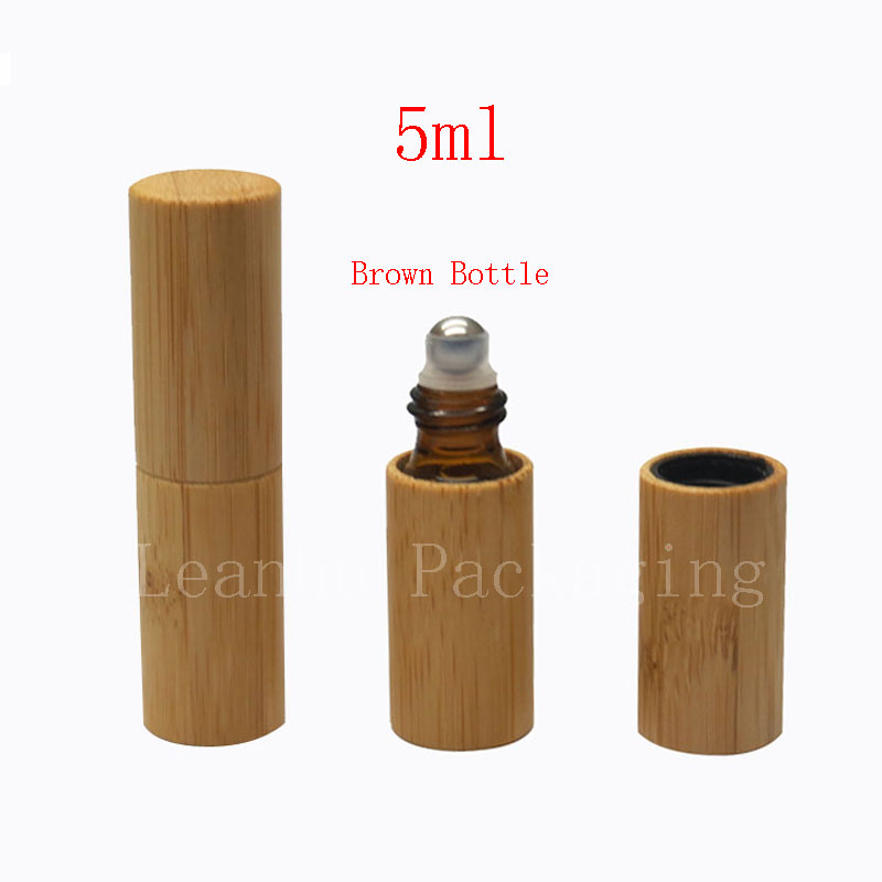 5ml X 20 bamboo roll on perfume glass bottle 5cc eyecream container roller ,lotion cosmetics bottles for perfumes, essential oil(China (Mainland))