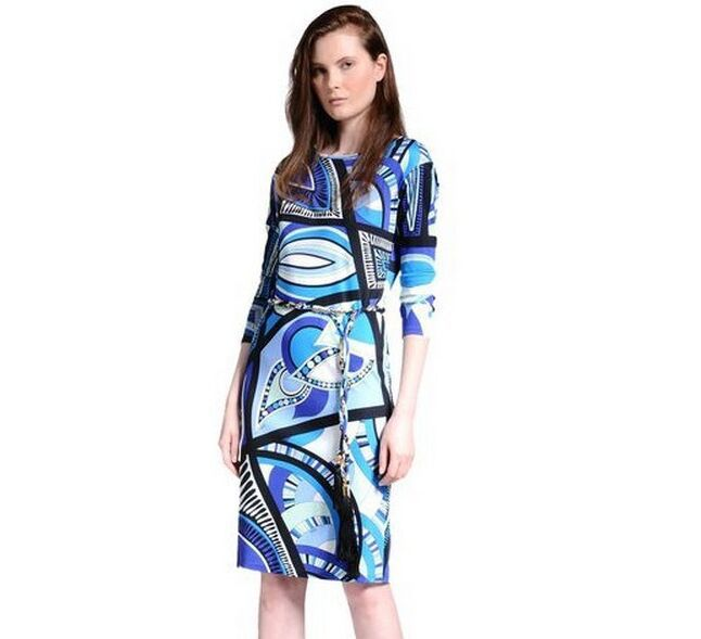 New 2014 Italian Luxury Brands Women's Blue Geometry Print Long Sleeves With Sashes Plus Size XXL Stretch Jersey Silk Dress(China (Mainland))