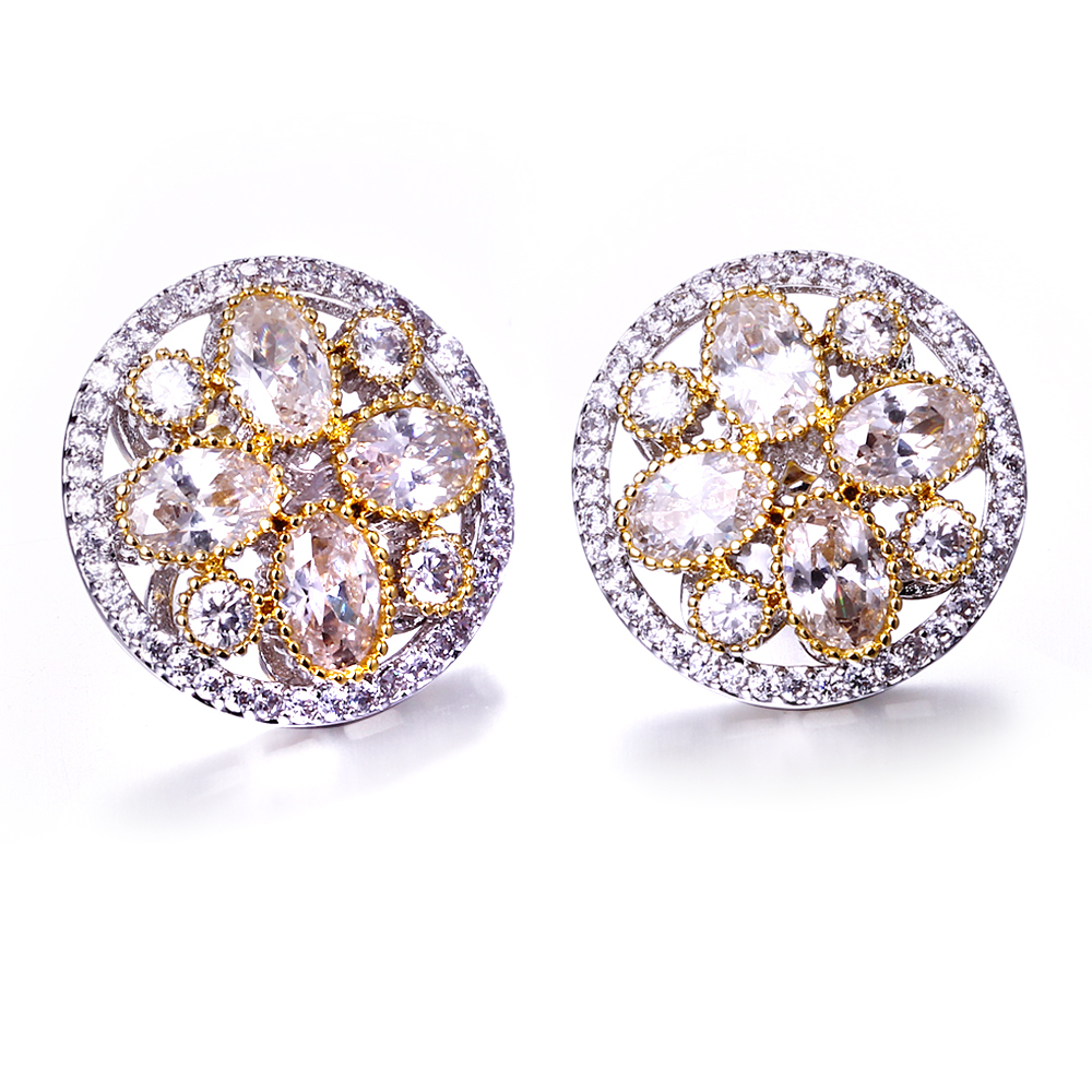Round stud earrings Gold and white plate micro pave setting with cubic zirconia stud fashion earring New stud Earrings 2016(China (Mainland))