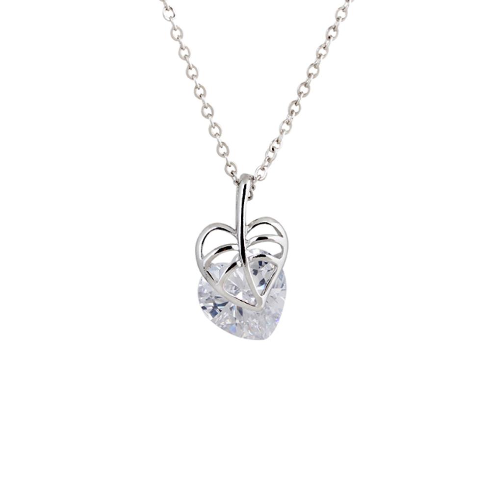 Hot Sale Leaf Imitation Diamond Necklace Shiny Artificial Zircon Pendant Necklace Women Crystal Jewelry Wedding Party Gift(China (Mainland))
