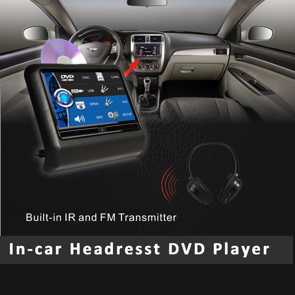 9 inch HD Active clip-on/ Detachable Car Headrest Touch Screen with DVD Player USB SD IR FM Speaker(China (Mainland))