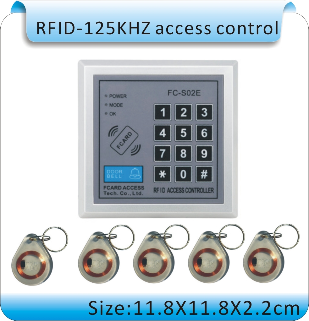 FC-S02E DC 12V Security password & 125KHZ EM RFID Proximity Entry Door Lock Access Control System +10 crystal Keyfob(China (Mainland))