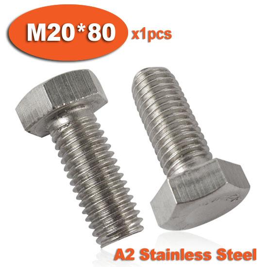 1pcs DIN933 M20 x 80 Fully Threaded Stainless Steel Bolts A2 Hexagon Hex Head Bolt Set Screw Setscrews<br><br>Aliexpress