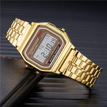 Femmes hommes unisexe montre or argent Vintage en acier inoxydable LED sport militaire montres électroniques montres numériques présent(China)