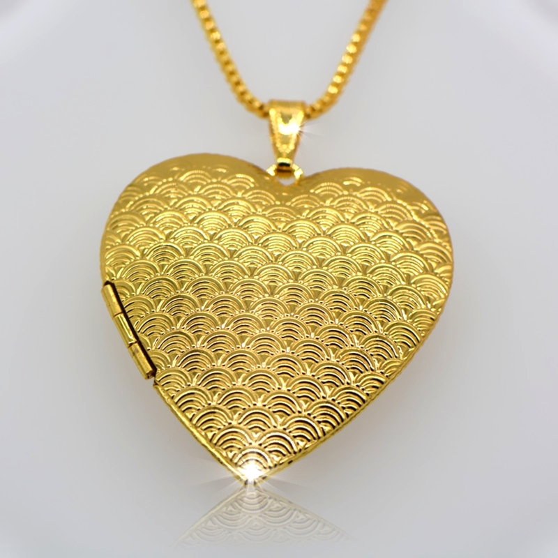 18 k gold classic heart-shaped box pendants can pack perfume cotton and photos Fashion jewelry gift for woman p30035(China (Mainland))