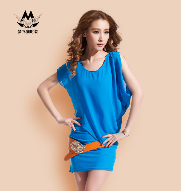 Fashion dn8901 2013 chiffon short-sleeve dress summer fashion batwing sleeve bag