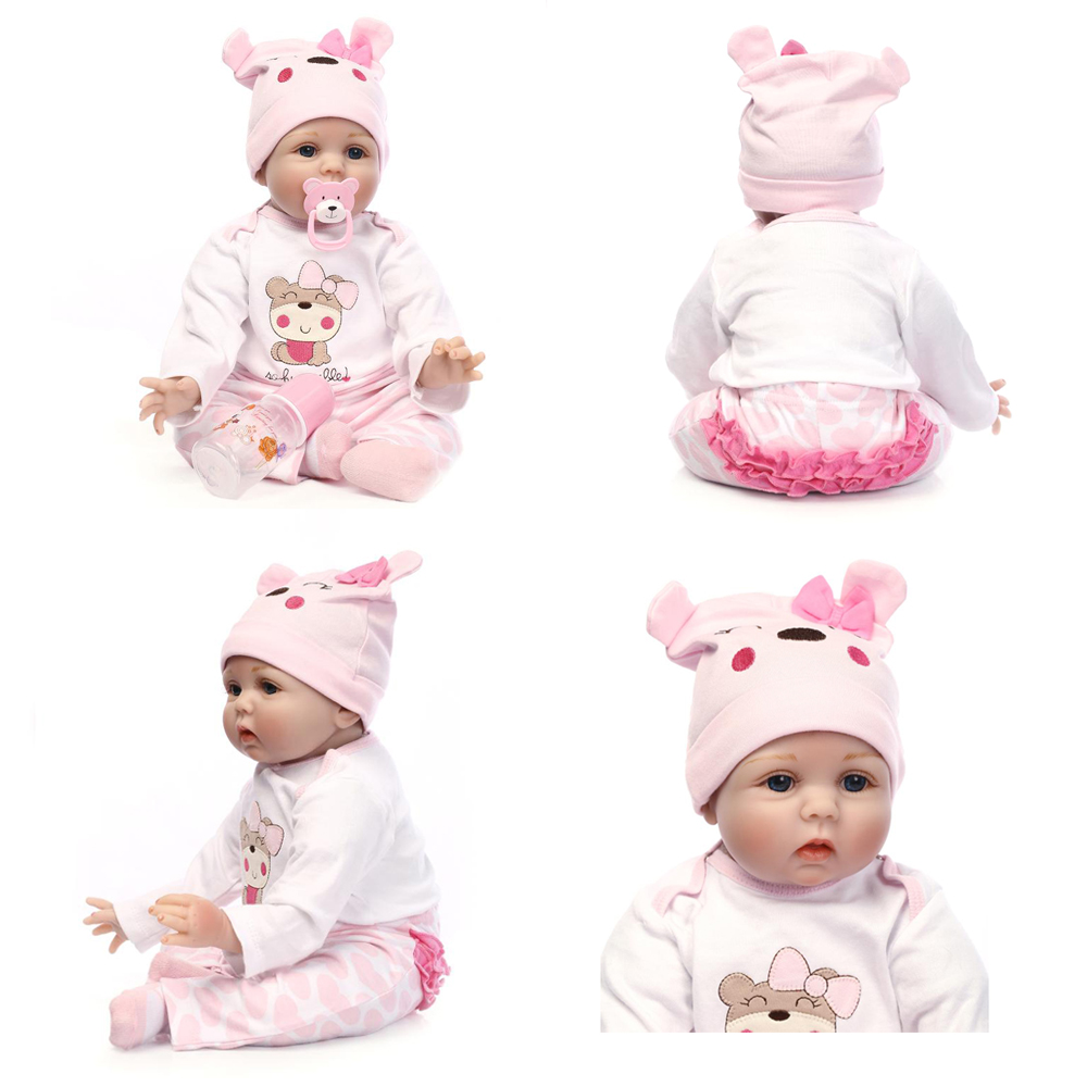 Reborn Baby Dolls 22 Inch Soft Silicone Baby Dolls Lifelike Realistic Cute Newborn Baby Alive Doll Toy Kids Gift Free Shipping(China (Mainland))