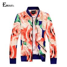 Men's  Floral Jacket Large Size M-5XL 2015 Brand Long Sleeve Autumn Casual Jacket Men Winter Loose Jaqueta Masculina C1754