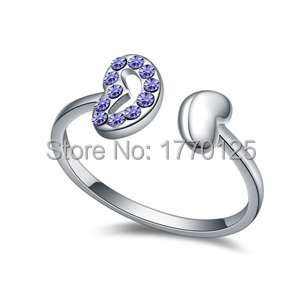 2015 explosion models women imported Austrian Crystal Ring - two hearts across Purple/Blue/Rose/color/white/blue Free shipping(China (Mainland))