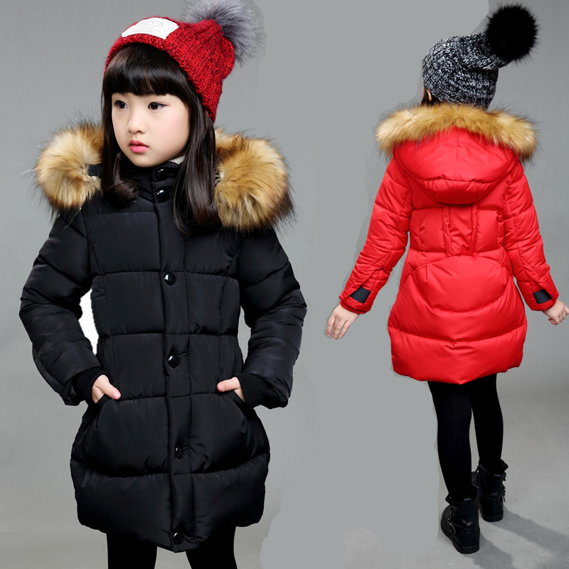 Kindstraum 2017 New Children Winter Warm Coat Kids 100% Cotton Thermal Parkas Waterproof Solid Long Clothes for Girls,RC717