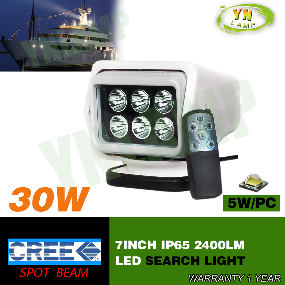 30W 7inch remote controller search hunting light magnetic base spot beam light 7inch cree leds 6pcs*5W for boat fishing marine(China (Mainland))