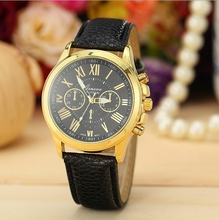 Envío gratis 2015 nueva venta caliente de moda reloj de cuero de ginebra de cuarzo escala romana relojes para mujeres W148