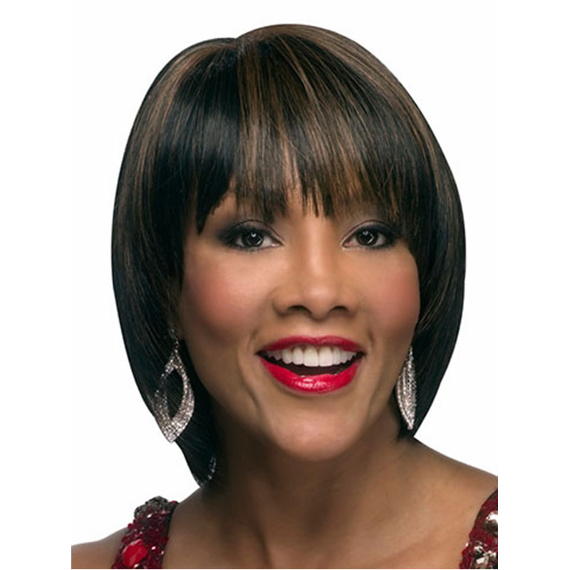 2016 New Fashion Women Highlight Color Chic Short Cut Straight Hairstyle Synthetic Hair Wigs For Black Women(China (Mainland))