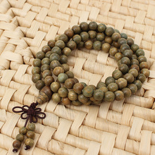 Fragrant Green Sandalwood 108*8MM Buddhist Prayer Bead Mala Necklace/Bracelet Buddhist Prayer Bead Mala Necklace(China (Mainland))