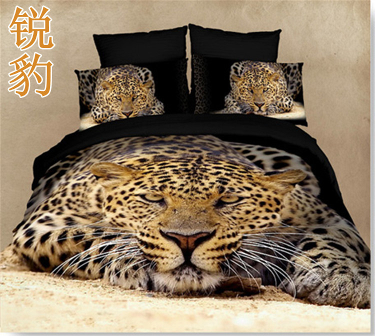 Animal 3d bedding sets American puma lion tiger Leopard painting 100% cotton bed sheet comforter/pillow covers edredon 3d 2655(China (Mainland))